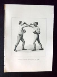 Badminton Library 1893 Antique Boxing Print. Double Lead-Off With The right